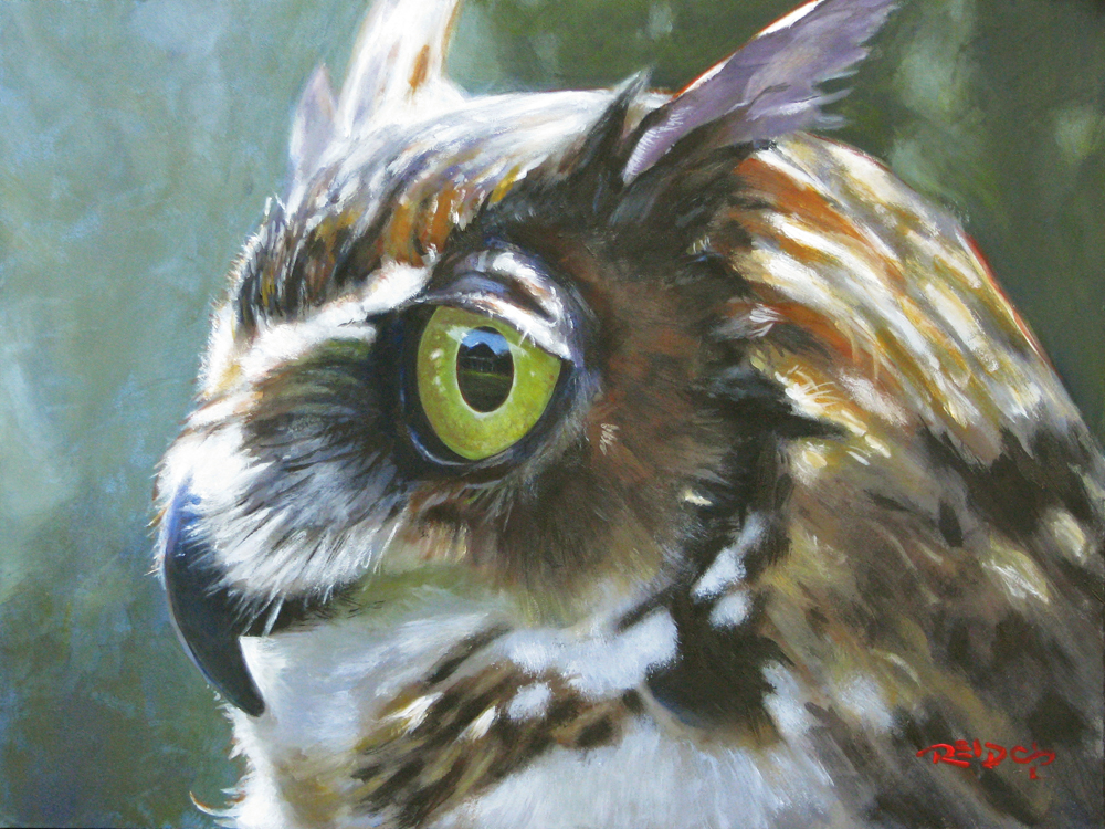 acrylic painting of a great horned owl by artist Christopher Reid