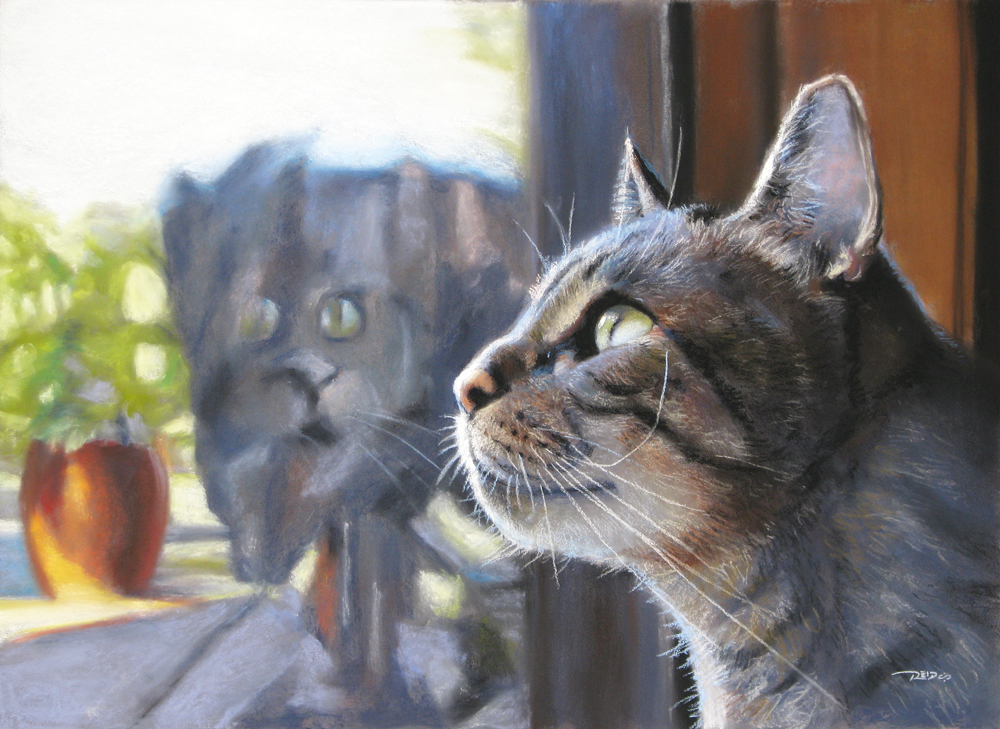 pastel painting of cat looking out window at squirrels